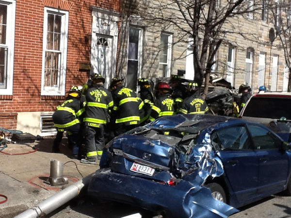 Baltimore City Fire Dept. on the scene of a vehicle that overturned and caught fire March 7, 2013.