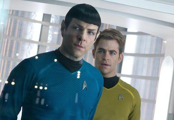 "Zachary Quinto as Spock, left, and Chris Pine as James T. Kirk in ""Star Trek: Into Darkness."""