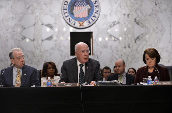 Senate Judiciary Committee Chairman Patrick Leahy holds a hearing on gun control in Washington.