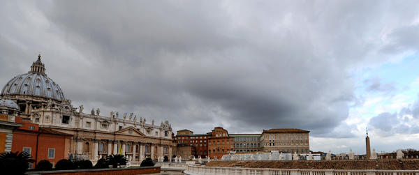 A panoramic view of St. Peter's Basilica as cardinals gather at the Vatican to choose a successor to Pope Benedict XVI.
