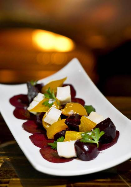Roasted beet and robiola cheese salad