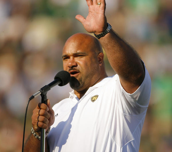 Notre Dame alumnus and former Chicago Bear Chris Zorich is honored at halftime for election into College Football Hall of Fame at Notre Dame Stadium in South Bend, Indiana in 2007.