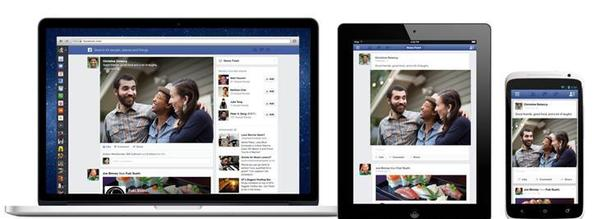 A look at the new Facebook News Feed on a computer, tablet and phone.