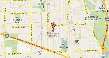 Map of Maine West High School in Des Plaines.
