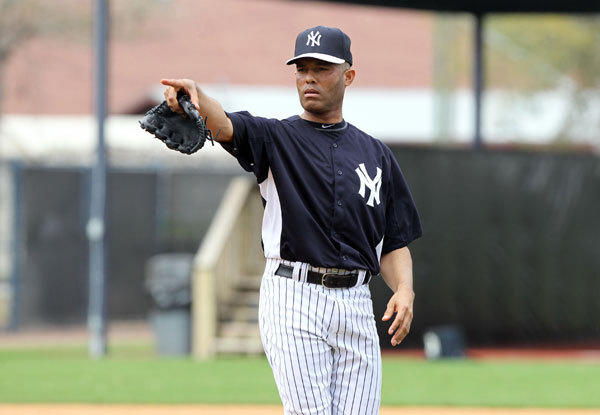 New York Yankees relief pitcher Mariano Rivera (42) during spring training at George M. Steinbrenner Field.