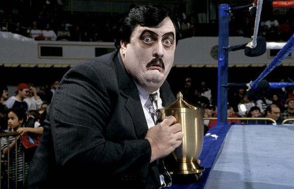Paul Bearer ringside during a WWE match.