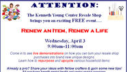 The Kenneth Young Center Resale Shop will host its firstever repurposing event at 9:00am on Wednesday, April 3, 2013 at 1150 S. Roselle Road in Schaumburg, IL. Customers will have the opportunity to view live demonstrations on how to renew, repurpose and upcycle various household items. Additionally, a number of 'before and after' photos will be displayed to show crafters and those interested in do it yourself projects
