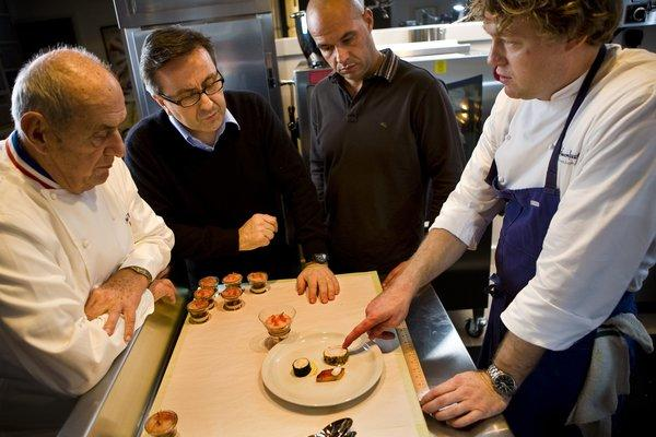 Timothy Hollingsworth, right, with Paul Bocuse, Daniel Boulud and Jerome Bocuse, during training for the Bocuse d'Or.