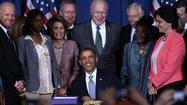 "<span class=""runtimeTopic"">WASHINGTON</span> -- President Barack Obama signed into law Thursday the Violence Against Women Act, formally ending a battle fought in Congress in the last year over controversial changes to the act."