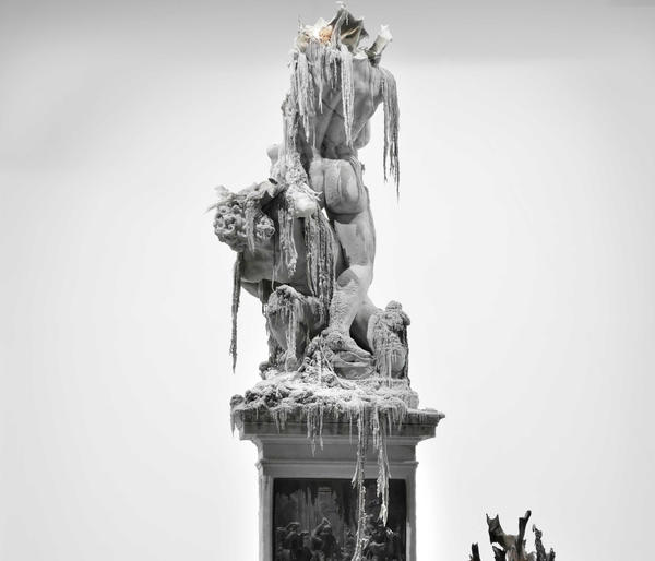 A melting wax replica of a Giambologna sculpture by Urs Fischer.