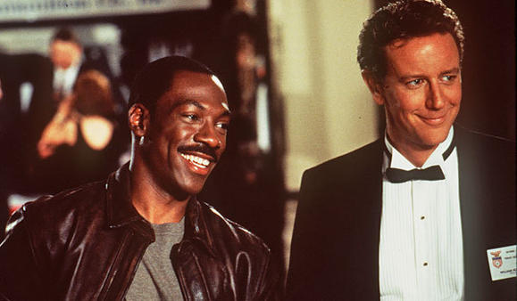 Eddie Murphy, left, and Judge Reinhold in 'Beverly Hills Cop III'