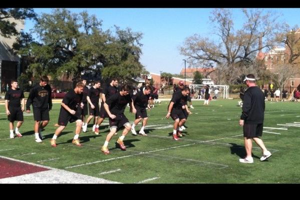 Florida State's football players wrapped up fourth-quarter conditioning drills Thursday afternoon at FSU. The Seminoles kick off spring practice March 20.