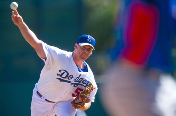 Dodgers starting pitcher Chad Billingsley faces the Chicago Cubs in an exhibition game last month at Camelback Ranch.