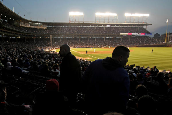 Wrigley Field during a night game.