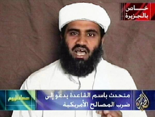 An image from the Al Jazeera TV network shows Sulaiman abu Ghaith in a broadcast in October 2001. U.S. officials have arrested him and flown him to New York to face several terrorism-related charges.