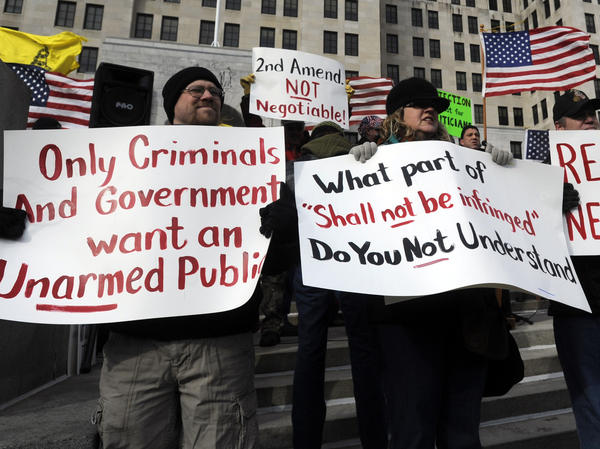 Demonstrators rally outside the Capitol in Albany, N.Y. to assert their right to own firearms and to denounce recent gun-control efforts.