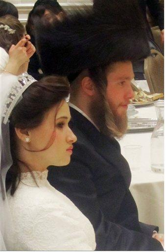 Raizy and Nachman Glauber at their wedding in January 2012.
