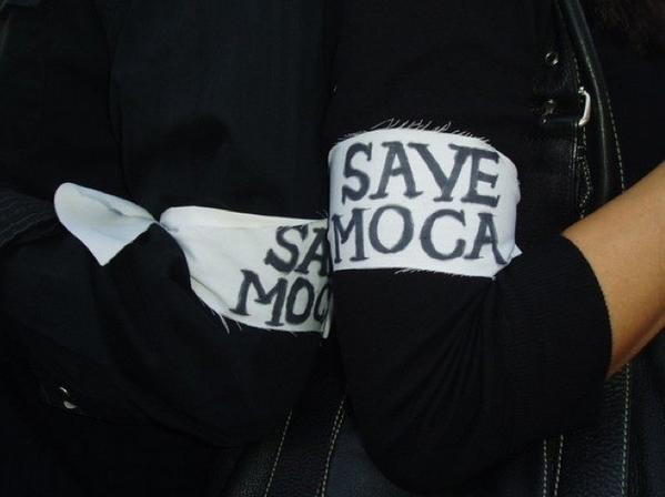 MOCA Mobilization in 2008 spoke out against a possible merger of MOCA and LACMA (and members wore these armbands).