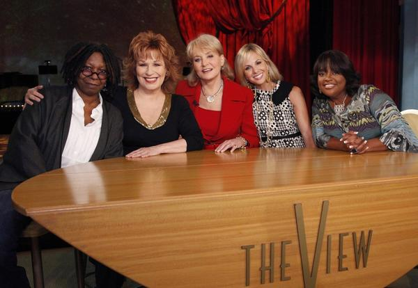 "Whoopi Goldberg, Joy Behar, Barbara Walters, Elizabeth Hasselbeck and Sherri Shepherd pose on the set of the ABC daytime talk show ""The View "" as they launch their 14th season in New York. Behar is leaving the show at the end of the current season in August 2013."