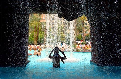 One pool at the Flamingo has a 14-foot waterfall. The hotel also contains another, more sedate pool for those who want to relax.