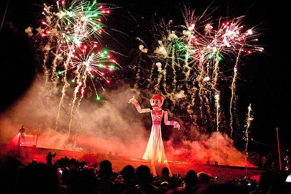 Santa Fe shoots off fireworks before setting fire to the 50-foot marionette Zozobra, which embodies all the troubles of the previous year.