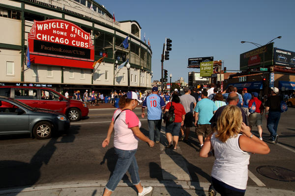 Clark Street and Addison is busy before a Cubs vs. Brewers game in August 2012.