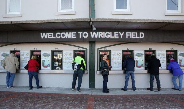 Cubs fans purchase single game tickets at Wrigley Field.