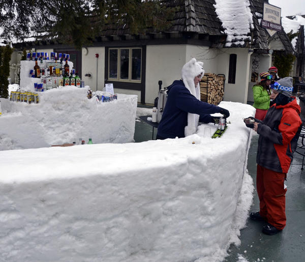 Craft beers will be served at snow bars during the Brew-Ski Festival at Boyne Highlands Resort in Harbor Springs, just like this snow bar recently constructed at sister property Boyne Mountain Resort, in Boyne Falls.