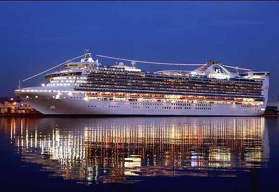 The Princess Cruises Caribbean Princess sails out of Port Everglades.