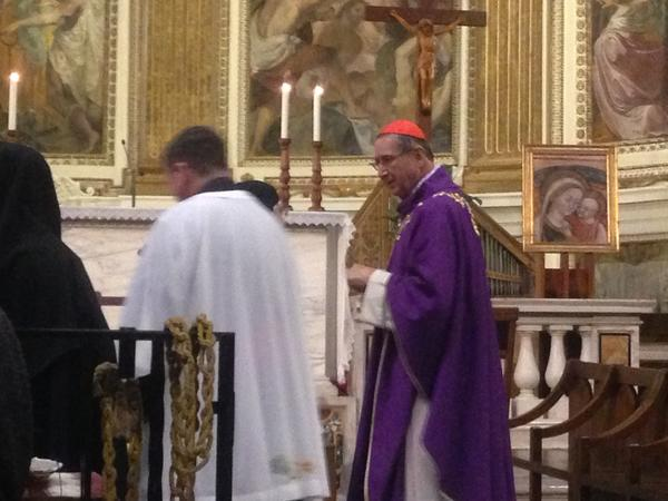 Cardinal Roger Mahony attends a Mass in the Santi Quattro Coronati church in Rome.