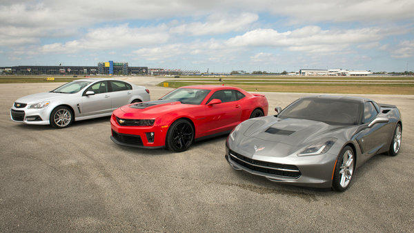 The Chevrolet trio of performance vehicles from left: the 2014 Chevrolet SS, 2013 Camaro ZL1 and 2014 Corvette Stingray outside the Daytona International Speedway. The SS, Stingray coupe and convertible, and a refreshed Camaro will be shown at the New York Auto Show.