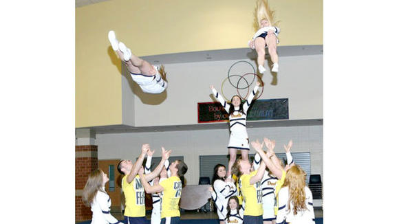 The Gaylord High School Coed Stunt Team joined performers from around the world to make an anti-bullying music video.