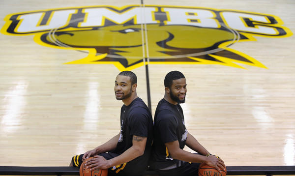 UMBC basketball players Ryan Cook, left, and Quentin Jones are two former walk-ons who are playing well for the Retrievers. Coach Aki Thomas hopes to strengthen UMBC by focusing on local recruits.