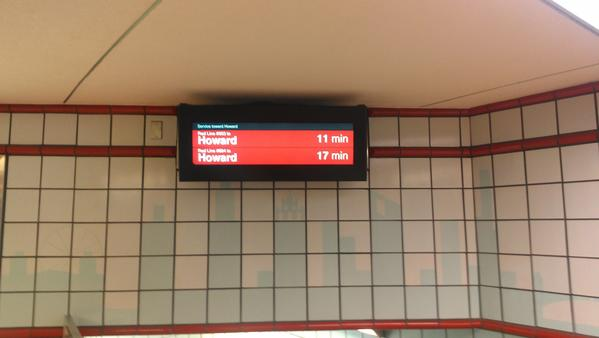 New Train Tracker displays at the Grand Red Line stop