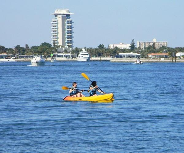 A couple of folks enjoy kayaking near Port Everglades.
