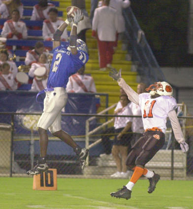 Former Dillard star Chris Gamble intercepts a pass during a game 10/6/00.