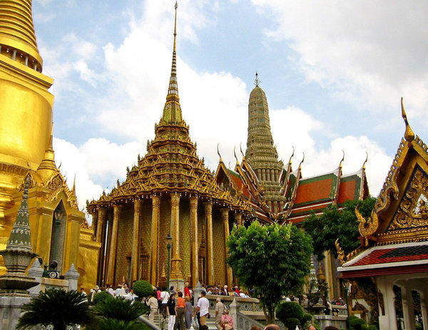 These buildings are part of the Thai Buddhist Temple attached to the Grand Palace in Bangkok.