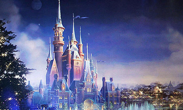 Concept art of Shanghai Disneyland suggests a water show could be featured at the Chinese theme park.