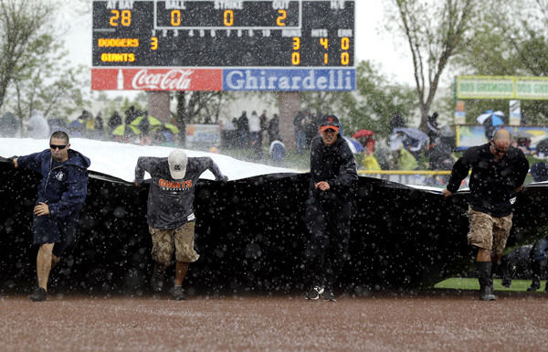 The grounds crew covers the field during a brief hailstorm that stopped Friday's exhibition game between the Dodgers and Giants.