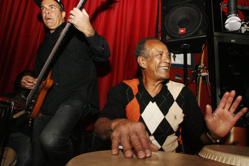 Live music at Mambos Cafe ( Cheryl A. Guerrero / Glendale News-Press / March 7, 2013 ) - Leo Nobre, left, and Carlinhos Pandeiro de Ouro perform at Mambos Cafe in Glendale on Thursday, 7, 2013. Mambos will celebrate its 25th year anniversary this September 2013. It is a Cuban restaurant where customers can dine and watch live performance every Tuesday and Thursday. The restaurant is owned by Raul Gonzaelez, Jr. and his father, Raul Gonzalez, Sr.