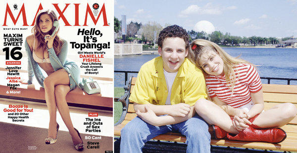 "Left, Danielle Fishel on the cover of Maxim magazine. Right, Fishel with her ""Boy Meets World"" costar Ben Savage while filming their sitcom."