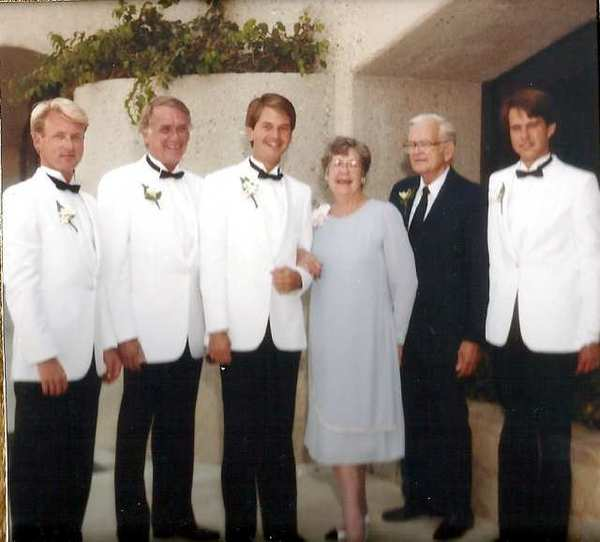 The Barnes family at Brad Barnes marriage to Allison Platz. From left, Brads brother, Daniel, his father, Thomas, Brad, his grandparents, Cecelia and Herman, and his brother, Raymond. Photo, 1984.