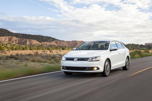 The loaded Jetta Turbo Hybrid SEL Premium sells for $32,975. It comes with 170 horsepower, a seven-speed dual-clutch gearbox, heated leather seats, a touchscreen navigation system, Fender stereo, and is rated in city and highway driving at 45 mpg.