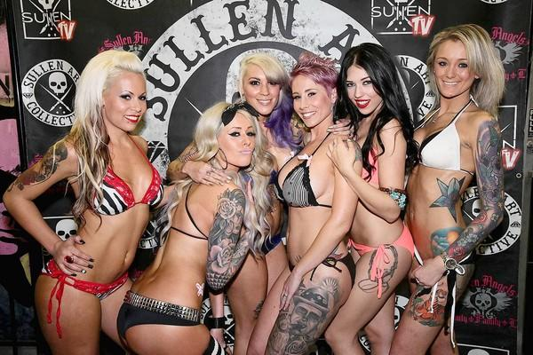 Semifinalists, from left, Summer Lerma, Danielle Stoddard, Alina Cuellar, Rikki Rey, Nicci Dominique and Kaytee Anna pose for a photo during the 2013 Miss MusInk Sullen Angels model search preliminaries at Johnny's Saloon in Huntington Beach on Thursday.