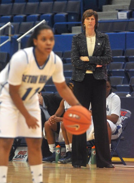 Seton Hall head coach Anne Donovan during her team's matchup with Cincinnati during Big East Tournament play at XL Center Friday. Donovan will be the Connecticut Sun head coach next season.