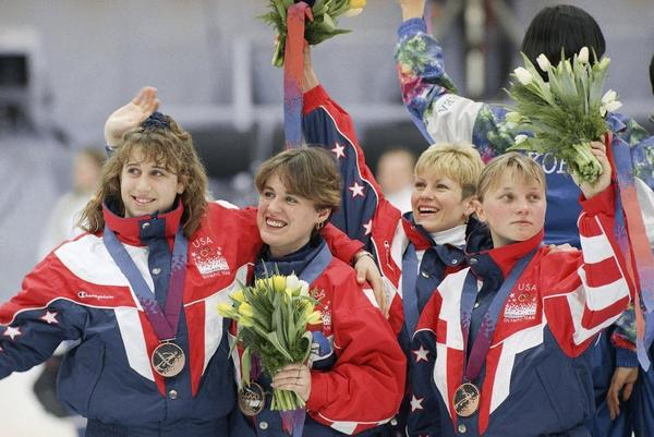 Nikki Meyer, left, formerly known as Nikki Ziegelmeyer, skated short track for the U.S. in the 1992 and `94 Olympics.
