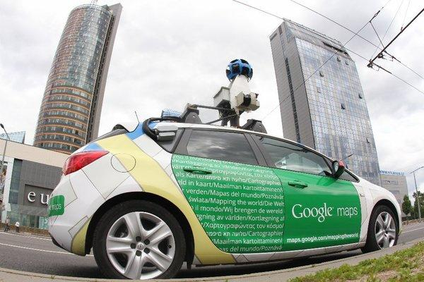 A Google Street View car drives through Vilnius, Lithuania.