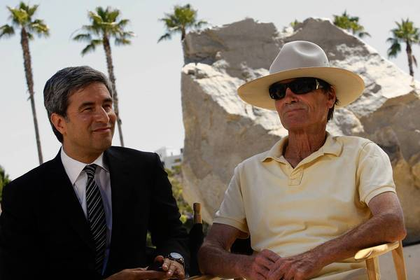 "LACMA director Michael Govan, left, and artist Michael Heizer near Heizer's piece, ""Levitated Mass."""