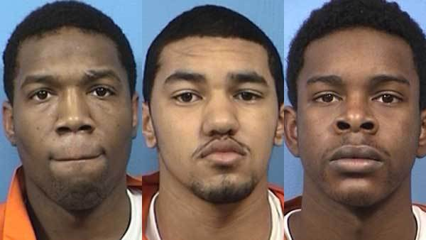 From left: Booking photos of Jerron Wilbut, Leverenzel Booth, and Kelechukwu Akuba
