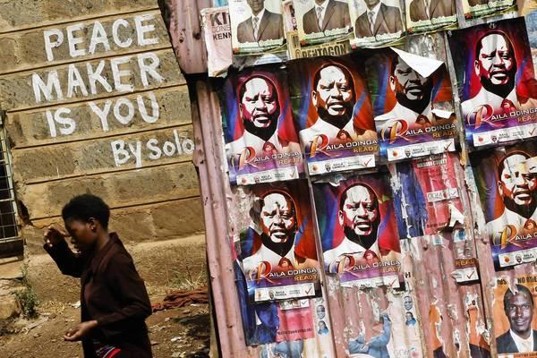 Presidential campaign posters for Kenyan Prime Minister Raila Odinga in the Kibera slum, Odinga's stronghold, in Nairobi, Kenya.